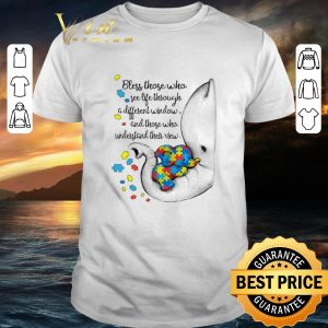 Top Autism Puzzle elephants bless those who see life through window shirt