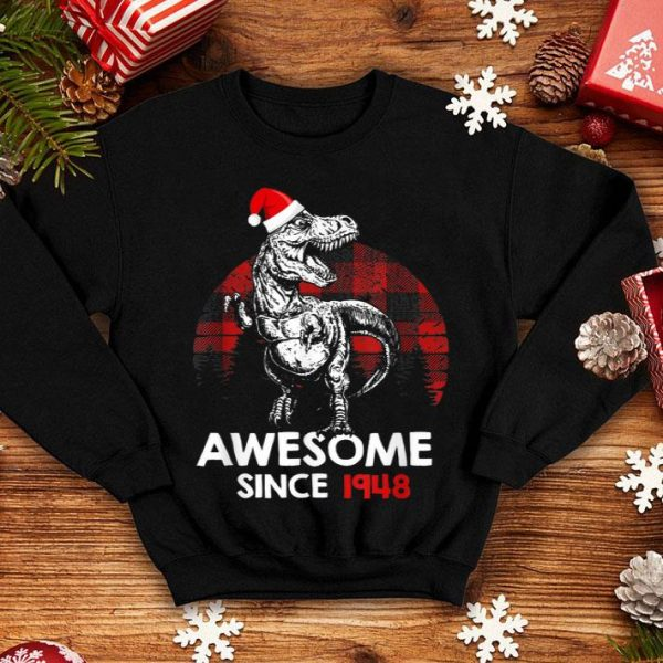 Top Awesome Since 1948 72nd Birthday Red Plaid Christmas Gift sweater