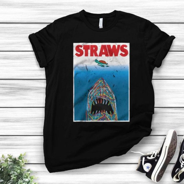 Straws Shark Save The Turtles shirt