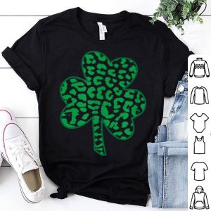 Awesome Cheetah Animal Print Shamrock St Patricks Day shirt