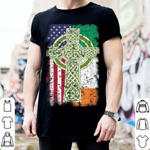 Awesome Irish American Usa Flag Celtic Cross St Patrick's Day shirt