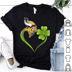 Beautiful St Patrick Day Shamrock Heart Football Team Minnesota-viking shirt