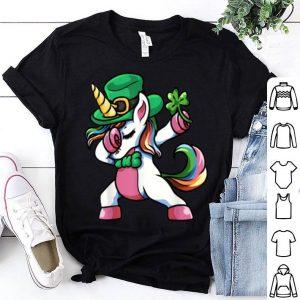 Nice St Patricks Day Dabbing Unicorn Lepricorn Irish Girls. shirt