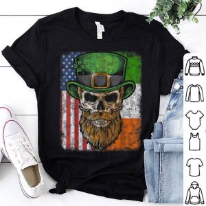 Premium Irish American Flag With Skull For St Patricks Day shirt