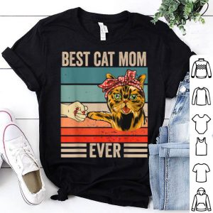 Pretty Awesome Vintage Best Cat Mom Ever Bump Fist Mother's Day Gifts shirt