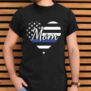 Mom Of Police Officer Heart Thin Blue Line Family USA Flag Pullover shirt