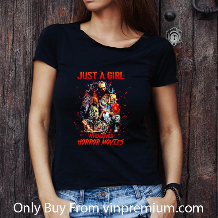 Awesome Just A Girl Who Loves Horror Movies Characters Halloween shirt