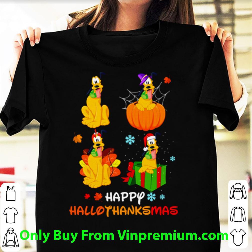 Great Disney Pluto Happy Hallothanksmas Halloween And Christmas shirt