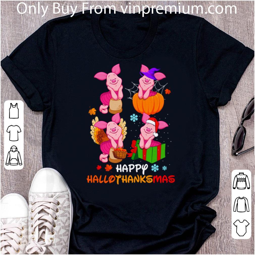 Awesome Piglet Disney Halloween And Merry Christmas Happy Hallothanksmas shirt