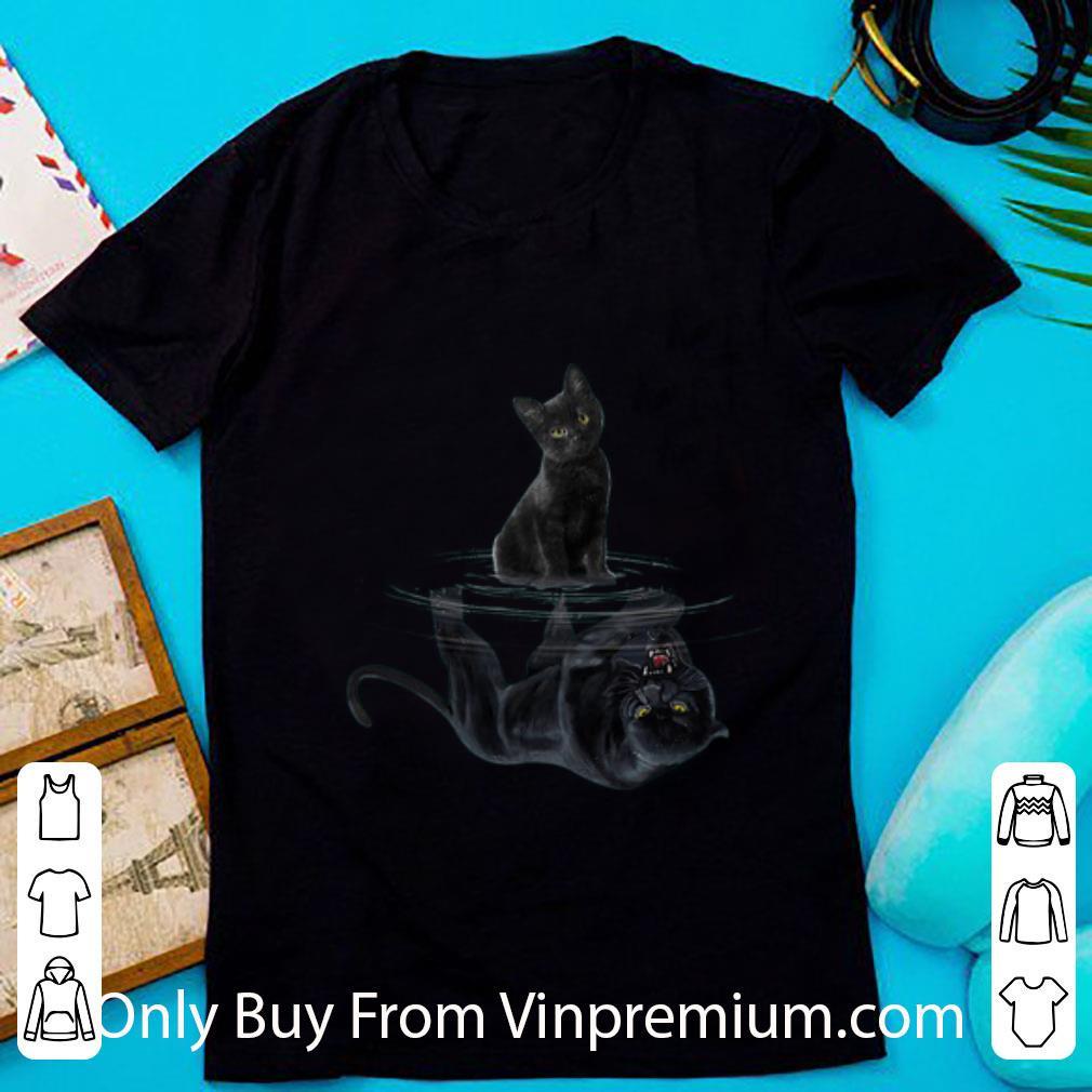 Great Black Cat Water Mirror Reflection Black Panther shirt