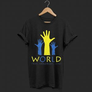 Blue & Yellow Hands Chromosome Down Syndrome Awareness shirt