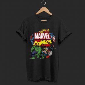 Marvel Comics Avengers Group Shot Around Logo shirt