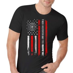 Best Firefighter Dad Ever American Flag For Fathers Day shirt