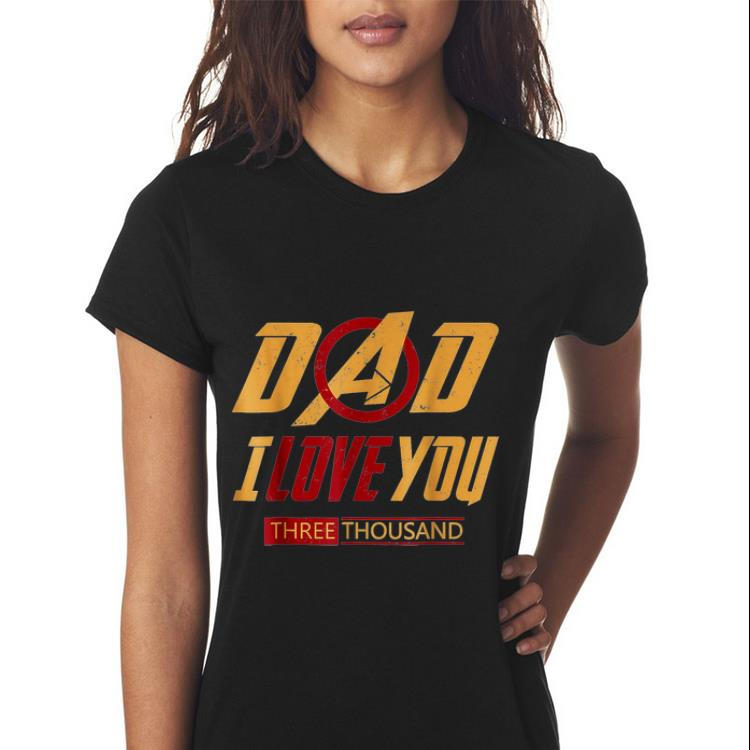 14a6eab4 Father day Dad I Love You Three Thousand Avenger logo yellow and red front  shirt