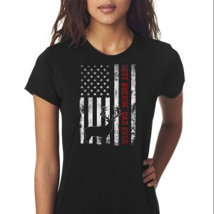 USA Flag Best Buckin' Dad Ever Deer Hunting Fathers Day shirt 2