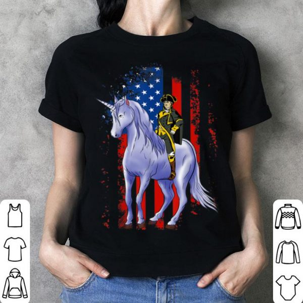 4th of July George Washington On A Unicorn USA Flag shirt