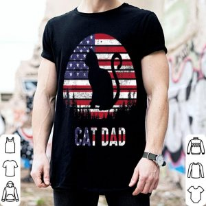 Cat dad 4th Of July Father Day American Flag shirt