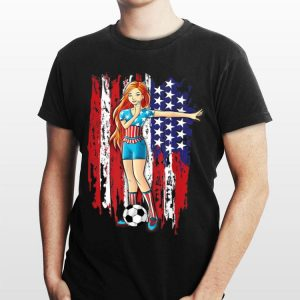 Dabbing Soccer Player Girl Dab Dance Usa Flag 4th Of July shirt