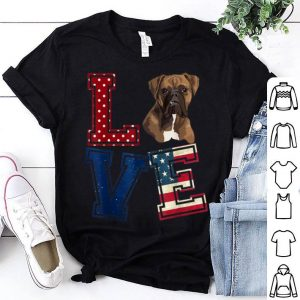 Love Boxer Face American Flag Patriotic 4th Of July shirt