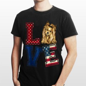 Love Yorkshire Terrier Face American Flag 4th Of July shirt