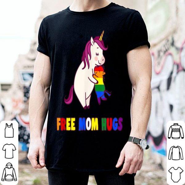 Proud Ally Free Unicorn Mom Hugs LGBT Pride Love Heart Tshi shirt