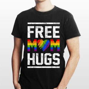 Vintage Free Mom Hugs Rainbow Heart LGBT Pride Month shirt