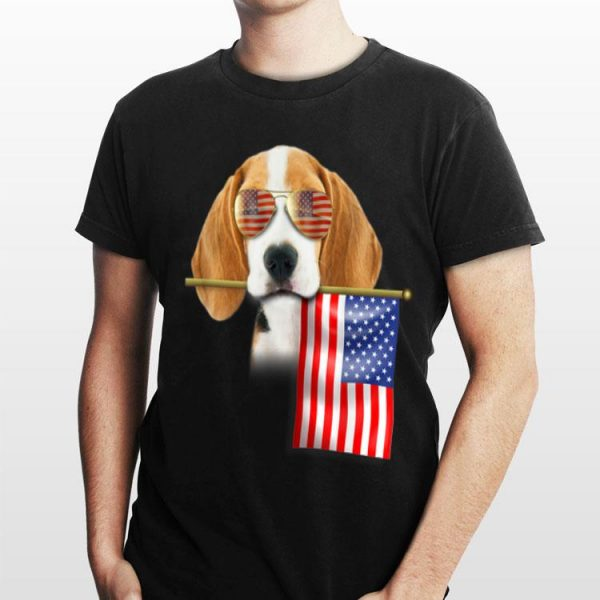 4Th Of July Sunglass American Flag Beagle Dog Lover shirt