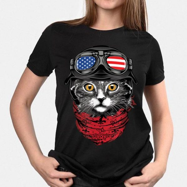 American Flag Pilot Cat 4th Of July shirt