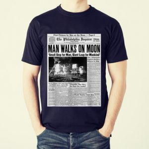 Awesome Newspaper Man Walks On Moon Small Step For Man Giant Leap For Mankind shirt 1