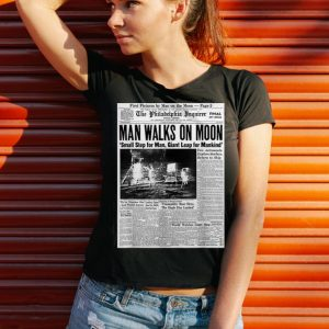 Awesome Newspaper Man Walks On Moon Small Step For Man Giant Leap For Mankind shirt 2