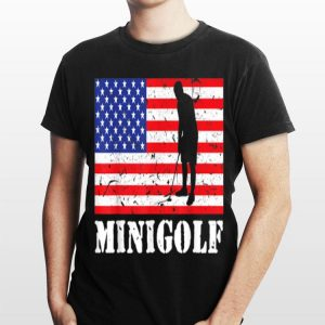 Distressed Minigolf Player USA American Flag Vintage Golfer shirt