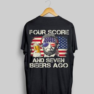 Four Score Seven Lincoln Drinking Vintage Us American Flag shirt
