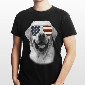 Labrador Dog with USA flag sunglasses shirt