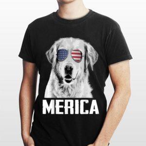 Merica Retrievers Golden US Flag Sunglasses 4th Of July Shir shirt