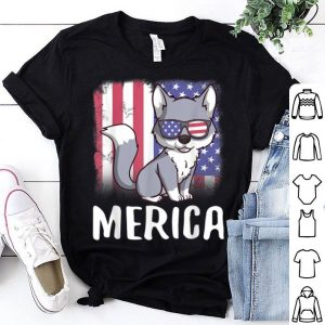 Merica Wolf Usa American Flag 4Th Of July Patriotic shirt