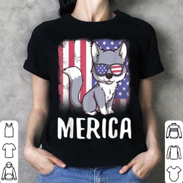 Merica Wolf Usa American Flag 4Th Of July Patriotic shirt