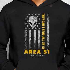 Nice Storm Area 51 They Can't Stop All Of Us Alien Face American Flag guy tee