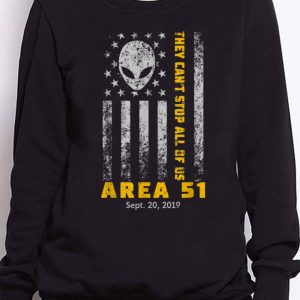 Nice Storm Area 51 They Can't Stop All Of Us Alien Face American Flag guy tee 2