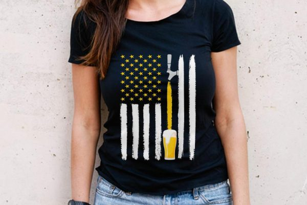 The Best Craft Beer American Flag 4th July Brewery shirt