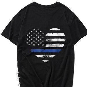The best trend Thin Blue Line Heart American Flag shirt