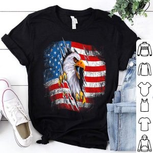 Vintage Patriotic Eagle American Flag Portrait 4Th Of July shirt