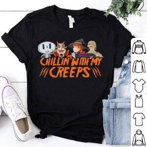 Official Funny Halloween Chillin With Creeps Vampire Skeleton shirt
