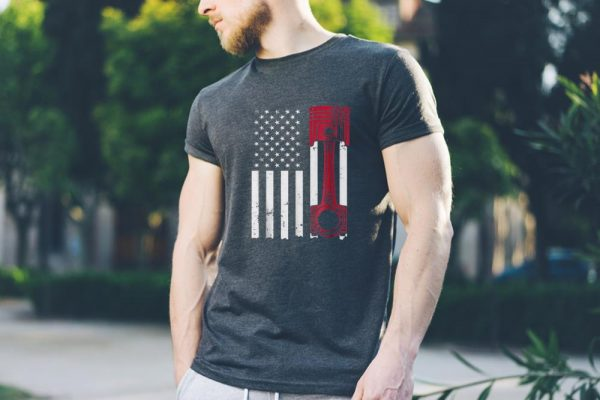 American Flag Piston Muscle Car sweater