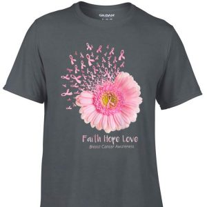 Awesome Faith Hope Love Breast Cancer Awareness Pink Daisy Flower shirt