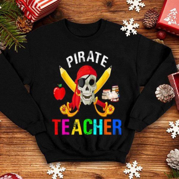 Awesome Funny Pirate Teacher Halloween Teacher Skull Halloween shirt