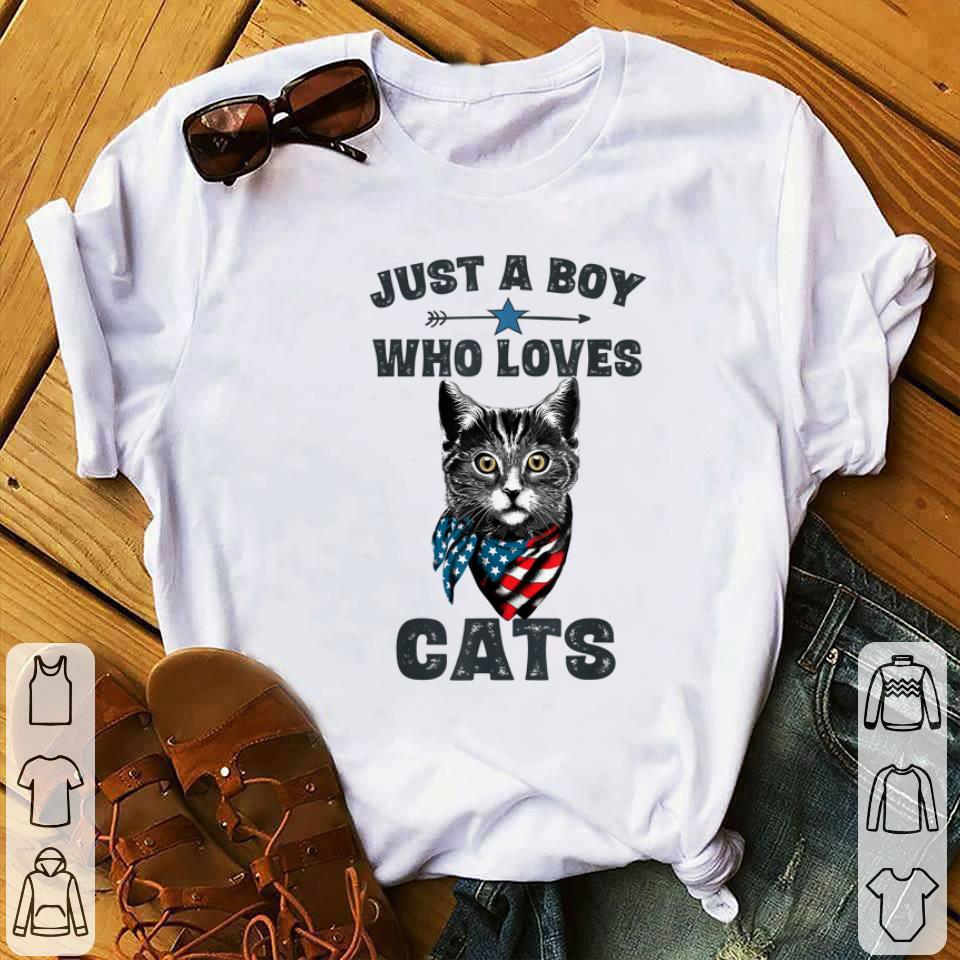 Awesome Just A Boy Who Love Cat American shirt 1 - Awesome Just A Boy Who Love Cat American shirt
