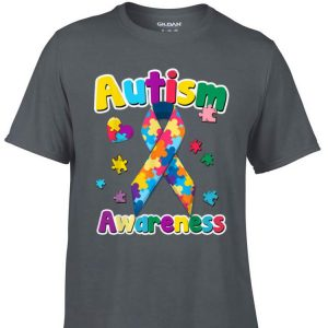 Awesome Ribbon Puzzle Pieces Colors Autism Awareness shirt