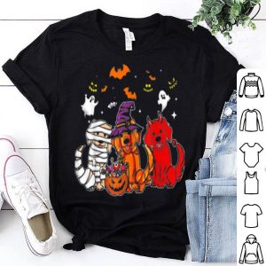 Beautiful Cute 3 Golden Retriever Mummy Witch Demon Halloween shirt