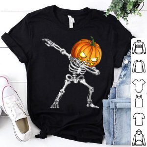 Funny Halloween Dabs For Boys Kids Dabbing Skeleton Pumpkin shirt