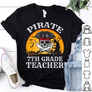 Official Pirate 7th Grade Teacher Funny Halloween shirt